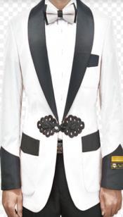 White Dinner Jacket - White Tuxedo Jacket With Matching Bowtie