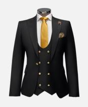 Black and Gold Suit With Double Breasted Vest - Black Wedding Suit