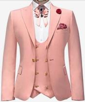 Dusty Rose Suit With Gold Buttons Suits - Pink Suit With Double