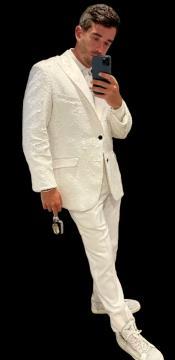 White and White Sequin Blazer - Mens White Sport Coat