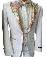 White and Gold Tuxedo - Floral Tuxedo With Matching Bowtie - Groom