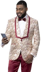 Ivory and Burgundy Tuxedo Suit with Burgundy Pants and Bowtie - Cream
