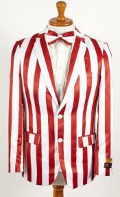Mens Red ~ White 2 Button Stripes American Flag Patriotic Blazer