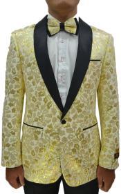 Gold Floral Suit - Champagne Paisley Suit + Black Pants + Matching