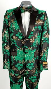 Green and Gold Tuxedo - Paisley Fancy Floral Suit With Matching Bowtie