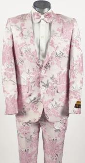 Mens Pink Suit - Paisley Fancy Floral Suit with Matching Bowtie