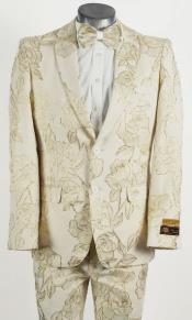 Mens Ivory and Gold 2 Button Floral Paisley Prom and Wedding Tuxedo