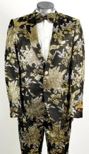 Mens Black and Gold 2 Button Floral Paisley Prom and Wedding Tuxedo