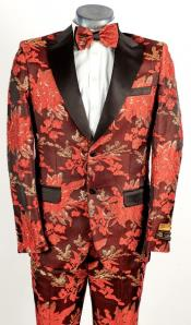 Mens Red and Gold 2 Button Floral Paisley Tuxedo Tuxedo