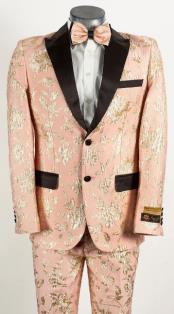 Mens Light Baby Pink and Gold 2 Button Floral Paisley Tuxedo Tuxedo