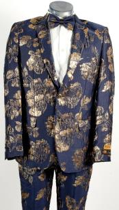 Mens Navy Blue and Gold 2 Button Floral Paisley and Wedding Tuxedo