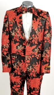 Mens Black and Red 2 Button Floral Paisley Prom and Wedding Tuxedo