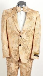 Mens Champagne Peach 2 Button Floral and Rose Design Prom and Wedding