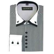Mens Black and White Dress Shirt