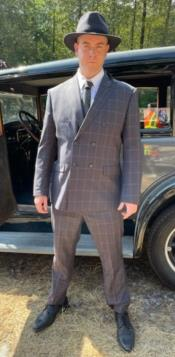 Gangster Suit - 1920 Mens Grey Pattern Suit With Grey Untochable Hat