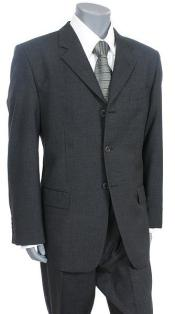 SKU Tesory Made in ITALY Italian Mens Suit  Charcoal Gray 3 Button suit Super 150 Vented 195