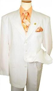 SKU#A644TR High Quality OFF White ~ Cream ~ Ivory 4 Button High Fashion Pleated Pants No Vent