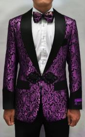 Purple Tuxedo - Purple Blazer - Paisley Dinner Jacket + Matching Bowtie