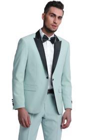 Mint Green Tuxedo Slim Fit Peak Lapel Suit