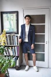 Navy Suit Navy White Polka Dot Suit Two Buttons Side Vents Summer