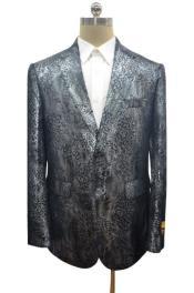 Snakeskin Blazer - Snakeskin Jacket Dark Silver