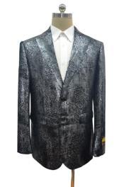 Snakeskin Blazer - Snakeskin Jacket Black ~ Dark Silver