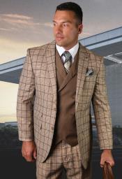 Plaid Suit - Windowpane Suit - Super 150s %100 Wool Vested 3