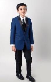Boys Slim Fit Suits - Kids Blue Slim Fit Suit
