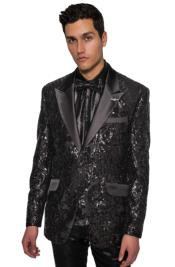 Mens Sequin Tuxedo - Sequin Suit + Black Pants + Matching Bowtie