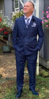 Double Breasted Slim Fit Suit - Indigo Blue Plaid Suit - Saphire