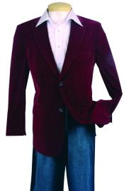Mens Fashion Sport Coat Wine Color Velvet Fabric