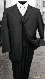 SKU#RH787 Nice 3PC 3 Button Black Tone On Tone Stripe ~ Pinstripe Mens three piece suit