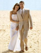 Amazing Linen Feel Rayon/Spandex Tan ~ Beige 2 Button Wedding Suit
