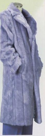 SKU#TTX778 Men's Long Length Faux Fur Coat Gray