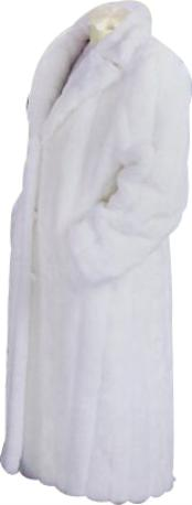 SKU#HF552 Men's Long Length Faux Fur Coat White