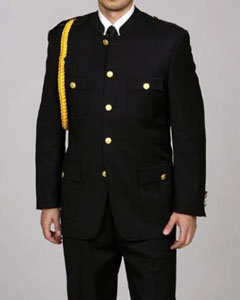 SKU#CU2834 Men's 'Cadet-Uniform' Black Suit