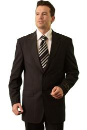 SKU#RM28882 Trueran-Viscose Men's Black Pinstripe ~ Stripe Pattern Classic cheap discounted Suit