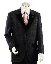 SKU#DU2455 Men's Two Buttons Style Comes In Black Two Toned Trimmed Two Tone Blazer/Suit/Tuxedo Denim Cotton Peak Lapel Velvet Lapel