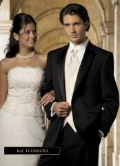 SKU#PZ1499 Fitted Slim Fitc Cut Traditional Black Tuxedo
