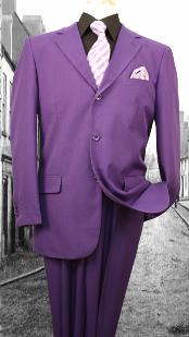 SKU#KZ10290 Super 120'S G-Purple Solid Color Suit
