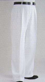 SKU#KM4044 White Wide Leg Dress Pants Pleated baggy dress trousers