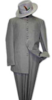 Solid Color Gray ~ Grey Mandarin Collar 2PC Mens Suit Banded