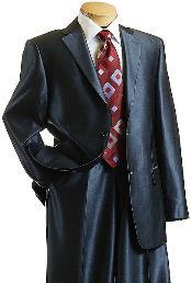 SKU#XC9014 Sharkskin Shiny Sheen 2 Button Dark Blue Sharkskin Mens Suit