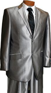 Sateen Metallic Bight Mens 2 Button Silver Slim Fit Shark Skin Suit Tuxedo looking