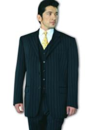 Black Pinstripe Super 120s Wool Feel Extra Fine Poly~Rayon Available in 2 or 3 Buttons Style Regular