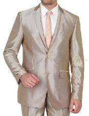 SKU#VINS2CC-1 Beige Shiny sharkskin Single Breasted Mens Suit Side-Vented Mocca-Bronze-Sand-Taupe Khaki Champagne