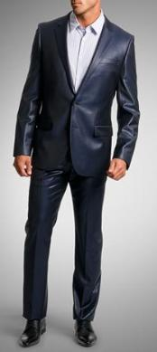 SKU#VF2008 Shiny sharkskin Single Breasted Mens Suit Side-Vented Navy Blue