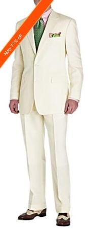 SKU#ND7722 Men's Suit Ivory 2-Button Style Perfect For Wedding + Free Tie