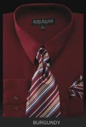 SKU#YK2990 Men's Dress Shirt - PREMIUM TIE - Burgundy ~ Maroon ~ Wine Color