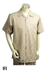 SKU#TA9111 Casual Walking Suit Set (Shirt & Pants Included) Taupe